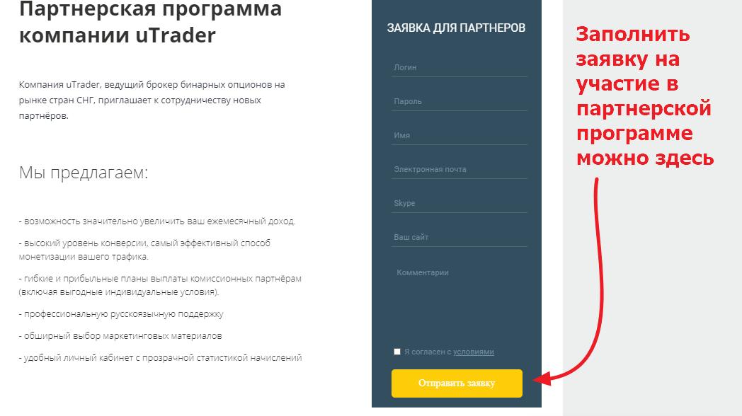 партнерская программа UTrader