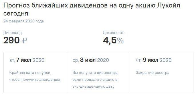 дивиденды по акциям Лукойл