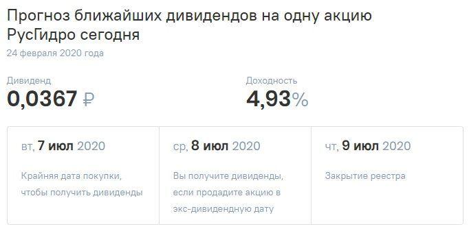 дивиденды по акция РусГидро